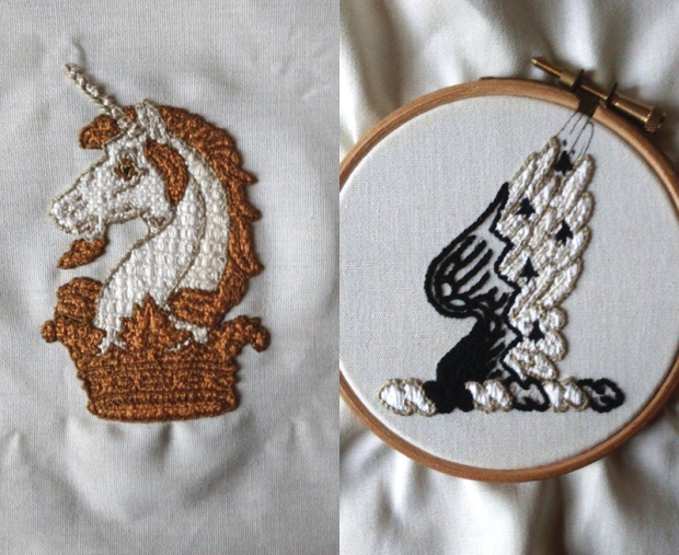 Crests for Mackworth-Praed, embroidered by M. L. Mackworth-Praed, 2015.